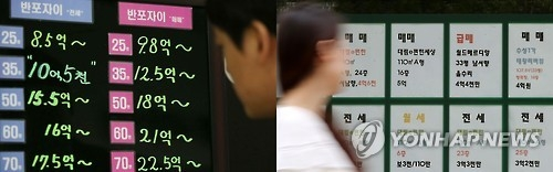 This file photo shows house prices in a southern Seoul area. (Yonhap)