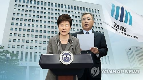 This graphic, provided by Yonhap News TV, shows President Park Geun-hye (L) and independent counsel Park Young-soo, who will launch a special probe into a high-profile corruption scandal involving Park and her friend. (Yonhap)