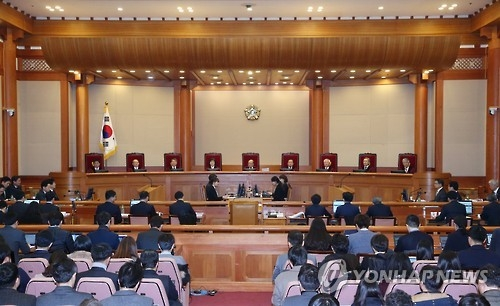 The nine-member bench of the Constitutional Court hold their first hearing on President Park Geun-hye's impeachment at the court in Seoul on Jan. 3, 2017. (Yonhap)