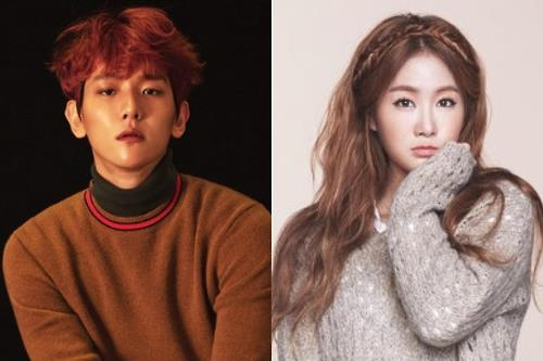 This composite photo provided by Starship Entertainment shows EXO's Baekhyun (L) and Sistar's Soyou. (Yonhap)