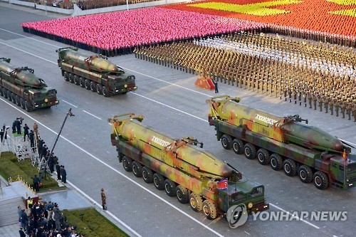 This photo provided by Japan's Kyodo News on Oct. 10, 2015, shows North Korea holding a massive military parade at the 70th founding anniversary of the ruling Workers' Party of Korea. (Yonhap)