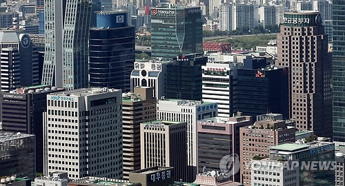 This undated file photo shows a cluster of local brokerages' main offices in Seoul's financial district of Yeoido. (Yonhap)