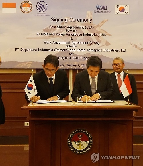 South Korean and Indonesian officials sign a cost-sharing agreement for the KF-X advanced fighter jet development program in Jakarta in this file photo. (Yonhap)