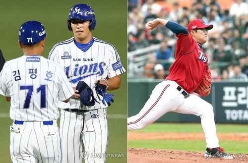 Former Samsung Lions outfielder Lee Young-wook (R in left photo) and Kia Tigers right-hander Han Ki-joo (right photo) were traded for each other by their Korea Baseball Organization clubs on Nov. 29, 2017. (Yonhap)