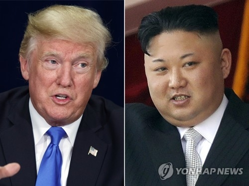 This compilation image shows an AP file photo of U.S. President Donald Trump (L) and North Korean leader Kim Jong-un. (Yonhap)