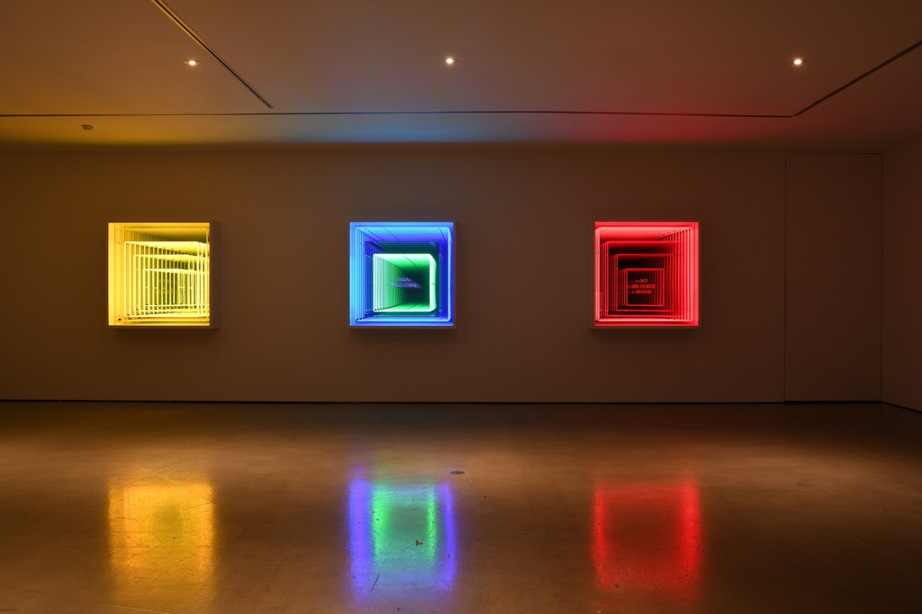 Three works by New York-based Chilean artist Ivan Navarro are exhibited at Gallery Hyundai in Seoul on April 20, 2018, in this photo provided by the gallery. (Yonhap)