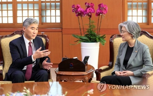 Sung Kim (L), the United States ambassador to the Philippines, speaks with South Korean Foreign Minister Kang Kyung-wha during his visit to the ministry headquarters in Seoul on June 1, 2018. Kim is leading the U.S. delegation to talks with North Korea in preparation for the two countries' proposed summit on June 12, 2018, in Singapore. (Yonhap)