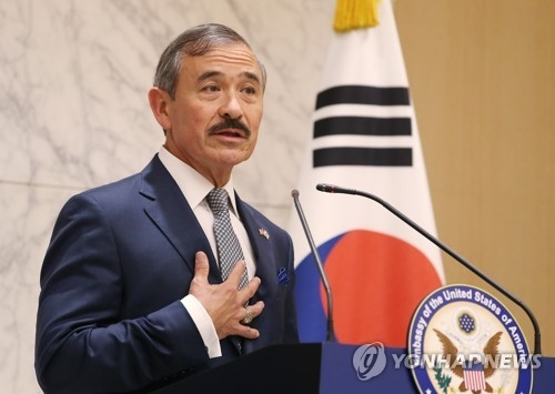 New U.S. Ambassador to South Korea Harry Harris speaks during a press conference at Incheon International Airport, west of Seoul, on July 7, 2018. (Yonhap)