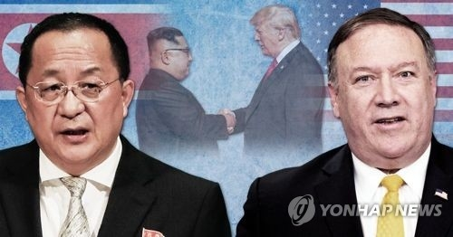 A combined image of North Korean Foreign Minister Ri Yong-ho (L) and U.S. Secretary of State Mike Pompeo (Yonhap)
