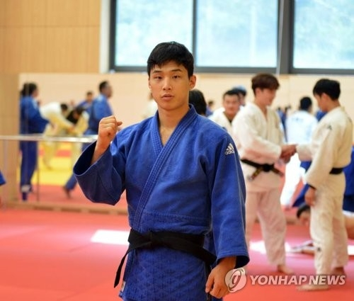South Korean judoka An Ba-ul poses for a photo ahead of training at the National Training Center in Jincheon, North Chungcheong Province, on Aug. 10, 2018. (Yonhap)