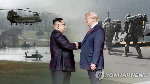 This image, provided by Yonhap News TV, shows U.S. President Donald Trump (R) shaking hands with North Korean leader Kim Jong-un. (Yonhap)