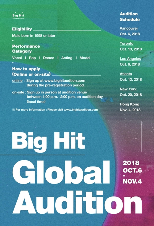 This poster for Big Hit Entertainment's global audition program is provided by the company. (Yonhap)