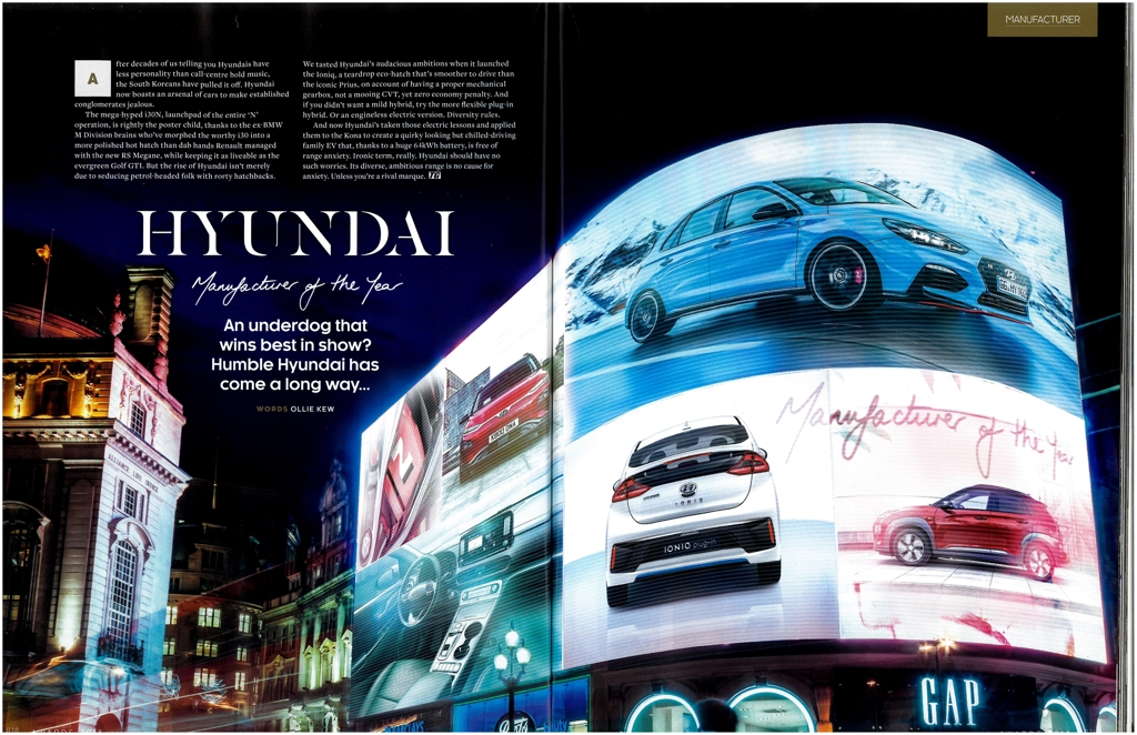 This photo image shows pages 70 and 71 of BBC TopGear Magazine, which feature Hyundai Motor as the British magazine's Manufacturer of the Year. (Yonhap)