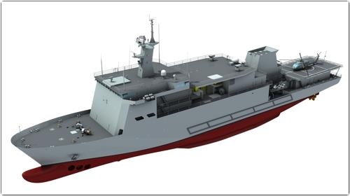 This image shows Daewoo Shipbuilding's new submarine rescue vessel. (Yonhap)