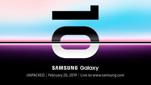 "This photo provided by Samsung Electronics Co. on Jan 11, 2019, shows a teaser poster for Samsung's ""Unpacked"" event for its upcoming flagship smartphone, the Galaxy S10. (Yonhap)"