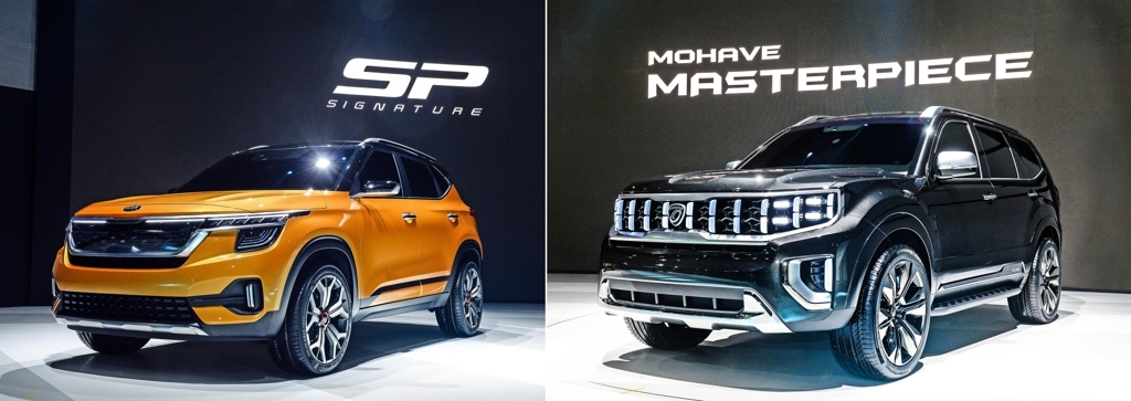 Kia Motors' SP Signature SUV concept and face-lifted Mohave Masterpiece SUV at the 2019 Seoul Motor Show (Yonhap)