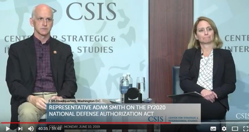 This image, captured from a video clip of a discussion session hosted by the Center for Strategic & International Studies on June 10, 2019, shows Rep. Adam Smith (L), chairman of the House Armed Services Committee. (PHOTO NOT FOR SALE) (Yonhap)