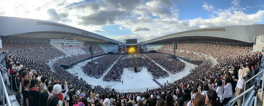 This panoramic view, provided by Big Hit Entertainment, shows Osaka's Yanmar Stadium Nagai during BTS' performances there on July 6 and 7, 2019. (PHOTO NOT FOR SALE) (Yonhap)