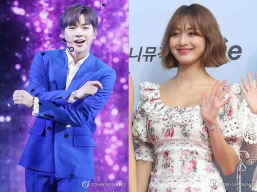 These images show Kang Daniel (L) and TWICE member Jihyo. The two K-pop stars confirmed Aug. 5, 2019 that they are in a romantic relationship. (Yonhap)