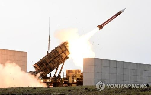 A Patriot missile is fired at a shooting range in Daecheon, South Chungcheong Province, on Nov. 2, 2017, in this file photo. (Yonhap)