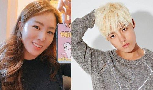 These images, both captured from their social media pages, show retired speed skater Lee Sang-hwa (L) and singer Kangnam. (PHOTO NOT FOR SALE) (Yonhap)