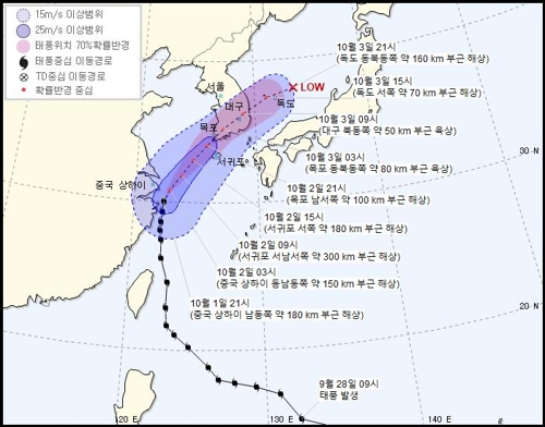 (3rd LD) Time of Typhoon Mitag's landfall in S. Korea advanced to midnight Wednesday