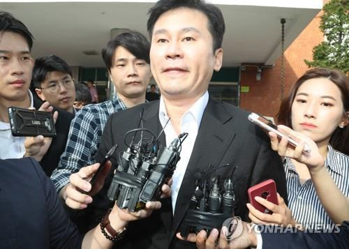 This file photo taken Aug. 30, 2019, shows Yang Hyun-suk, former CEO of YG Entertainment, leaving the office of the Seoul Metropolitan Police Agency's Intellectual Crime Investigation Team after being questioned about gambling and pimping accusations. (Yonhap)