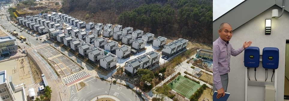 These photos taken on Sept. 29, 2019, show RoRen House in Sejong City (L) and the housing complex manager Lim Jin-young indicating equipment that shows how much electricity is generated on a daily basis. (Yonhap)