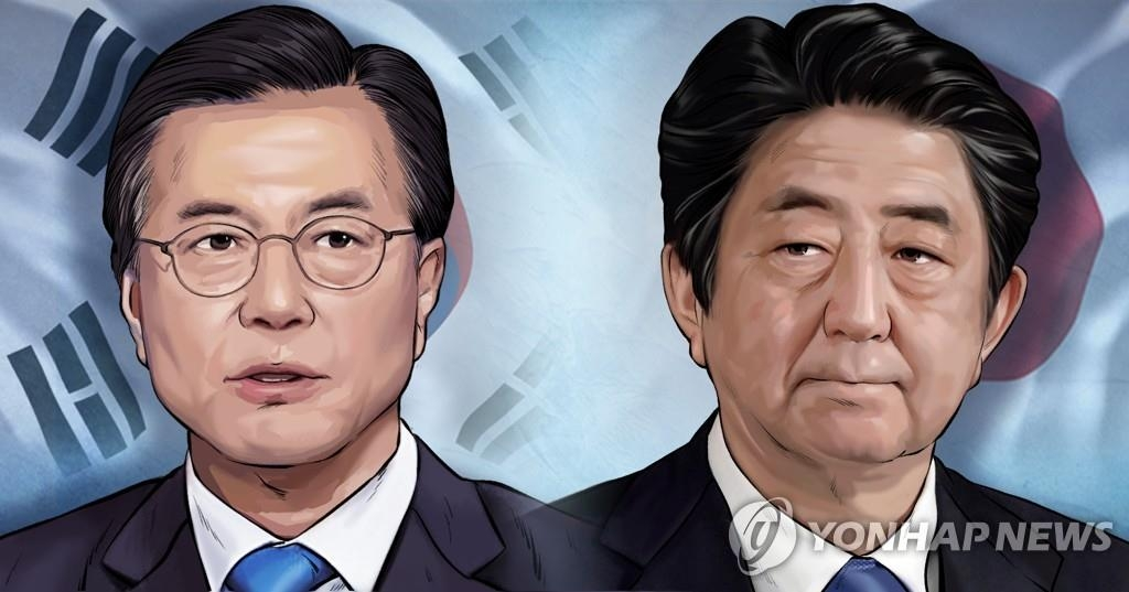 A combined image of South Korean President Moon Jae-in and Japanese Prime Minister Shinzo Abe (Yonhap)