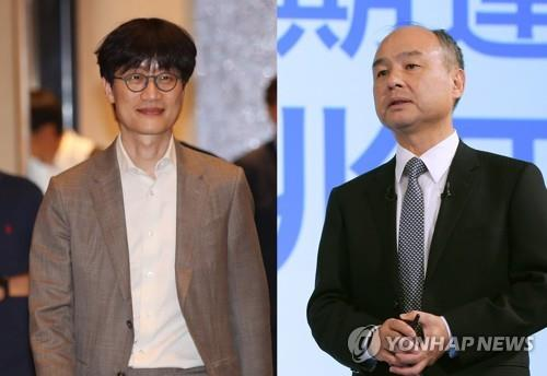 Lee Hae-jin (L), the billionaire founder of South Korea's top portal operator Naver Corp., and SoftBank Group Corp. CEO Masayoshi Son (Yonhap)