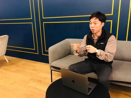 Lee Young-bok, CEO and founder of Genesis Lab, speaks during an interview with Yonhap News Agency, in this photo provided by the company on Nov. 22, 2019. (Yonhap)