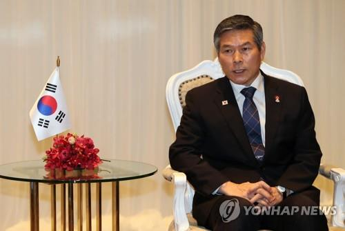 Defense Minister Jeong Kyeong-doo speaks to reporters after holding a bilateral defense meeting with his Japanese counterpart, Taro Kono (not pictured), in Bangkok, on Nov. 17, 2019. (Yonhap)