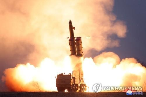 "A projectile mounted on a ""super-large multiple rocket launcher"" is launched off North Korea's east coast on Nov. 28, 2019, in this photo released by the North's official Korean Central News Agency the next day. North Korean leader Kim Jong-un oversaw the test-firing of the system. South Korea's military said the North fired two projectiles from what is presumed to be a super-large multiple rocket launcher from Yeonpo in the country's eastern South Hamgyong Province toward the East Sea. (For Use Only in the Republic of Korea. No Redistribution) (Yonhap)"