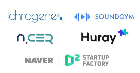 This photo, provided by Naver Inc. on Jan. 16, 2020, shows startup logos that received new investments from an accelerator. (PHOTO NOT FOR SALE) (Yonhap)