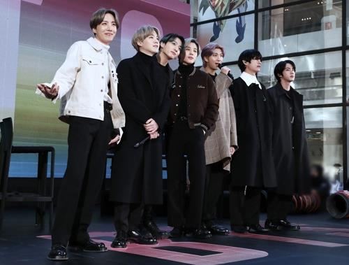 "This image, provided by Big Hit Entertainment, shows BTS during its appearance on American TV show, ""Today Show,"" on Feb. 21, 2020. (PHOTO NOT FOR SALE) (Yonhap)"