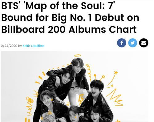 (2nd LD) BTS' 'Map of the Soul: 7' on way to No. 1 on Billboard 200