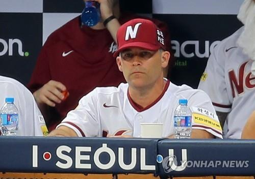 In this file photo taken on Aug. 1, 2017, Brandon Knight, pitching coach for the then Nexen (currently Kiwoom) Heroes, watches a Korea Baseball Organization regular season game against the SK Wyverns at Gocheok Sky Dome in Seoul. (Yonhap)