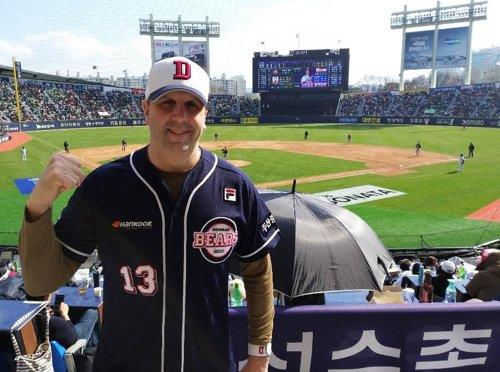 In this file photo from March 23, 2019, Mark Lippert, former U.S. ambassador to South Korea, poses for a photo at a Korea Baseball Organization game between the home team Doosan Bears and the Hanwha Eagles at Jamsil Stadium in Seoul. (Yonhap)