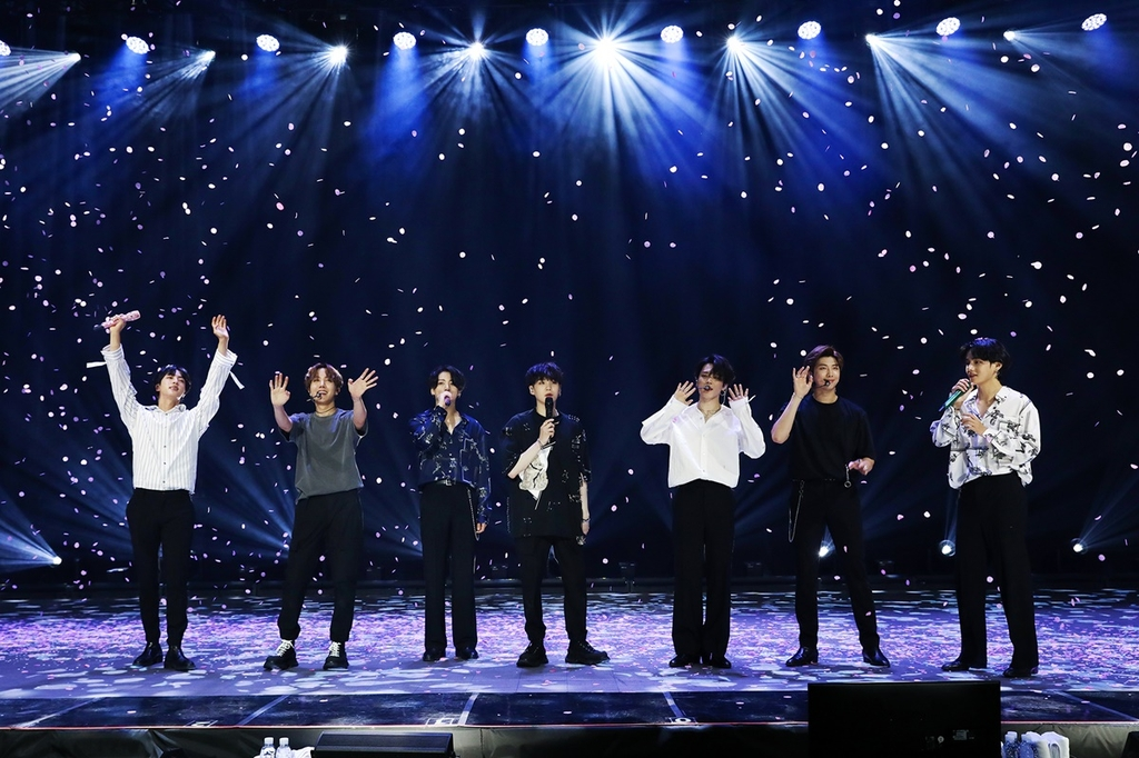 "This photo, provided by Big Hit Entertainment, shows a highlight from K-pop band BTS' online concert ""Bang Bang Con: The Live,"" held on June 14, 2020. The event drew around 756,000 viewers across the globe, according to the company. (PHOTO NOT FOR SALE) (Yonhap)"