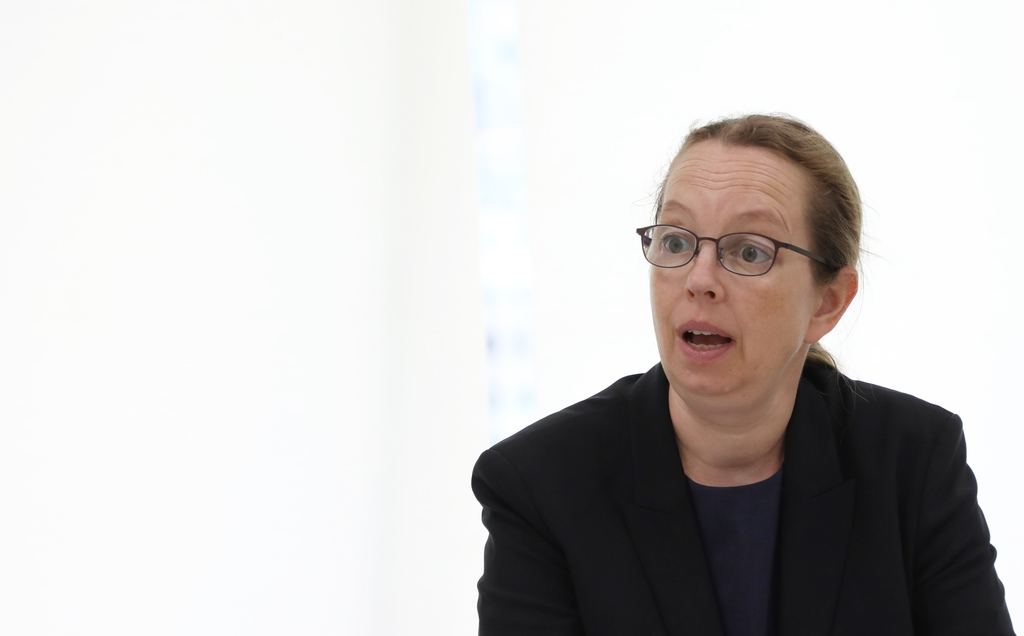Signe Poulsen, head of the Seoul office of the U.N. Office of High Commissioner for Human Rights (OHCHR), speaks during an interview with Yonhap News Agency on June 22, 2020. (Yonhap)