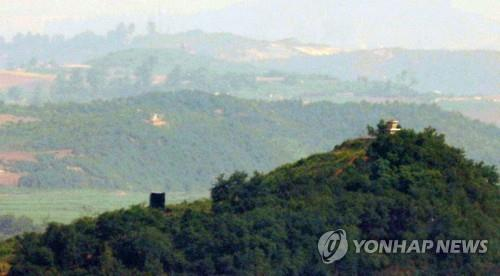 A propaganda loudspeaker is seen near a North Korean guard post inside the Demilitarized Zone (DMZ), in this photo taken from the South Korean border city of Paju, 30 kilometers north of Seoul, on June 23, 2020. Pyongyang began to reinstall the loudspeakers on June 21, citing anti-Pyongyang leaflets recently sent into the North by defectors. The Koreas had removed their loudspeakers from the DMZ in adherence with the Panmunjom Declaration on April 27, 2018. (Yonhap)
