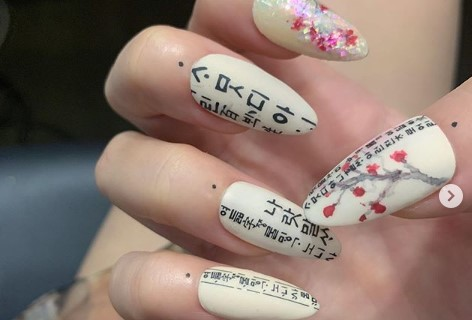 "This image from the Instagram account of Park In-kyung, nail artist for BLACKPINK singer Jisoo, features ""Hunminjeongeum"" text printed on the singer's fingernails. (PHOTO NOT FOR SALE) (Yonhap)"