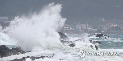 Strong waves pound the southern shores of Jeju Island on Aug. 25, 2020, as Typhoon Bavi approaches the Korean Peninsula. (Yonhap)
