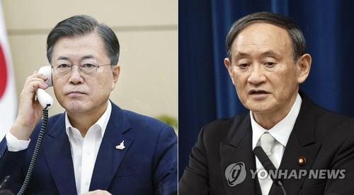 This photo provided by Cheong Wa Dae shows South Korean President Moon Jae-in (L), while the EPA file photo shows Japanese Prime Minister Yoshihide Suga (R). (PHOTO NOT FOR SALE) (Yonhap)