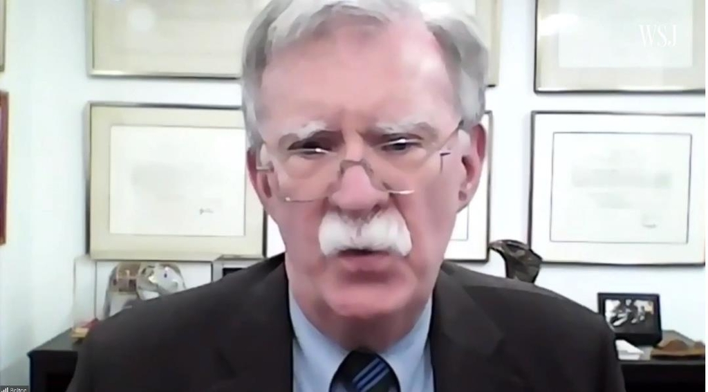 The captured image from the website of Wall Street Journal (WSJ) shows John Bolton, former national security adviser to U.S. President Donald Trump, speaking in a virtual conference of the WSJ CEO Council Summit on Oct. 6, 2020. (Yonhap)