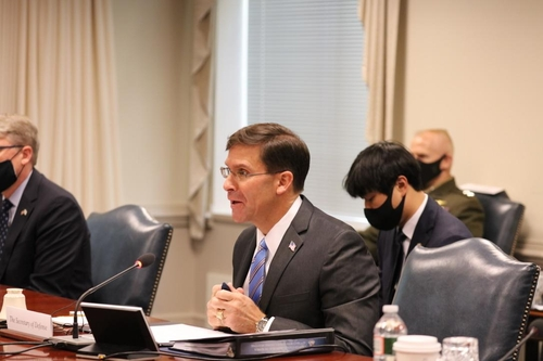 (LEAD) Esper says equitable burden-sharing necessary for 'stable stationing' of U.S. troops