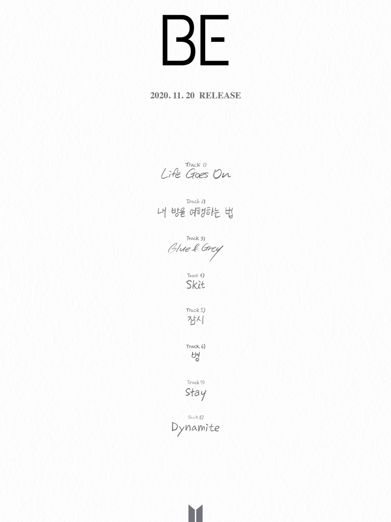 "This photo, provided by Big Hit Entertainment on Nov. 11, 2020, shows the track list for the upcoming BTS album ""BE."" (PHOTO NOT FOR SALE)(Yonhap)"