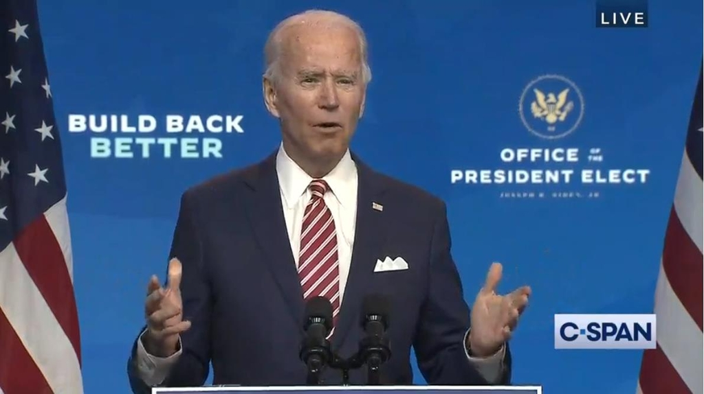 The captured image from the website of U.S. cable news network C-Span shows U.S. President-elect Joe Biden speaking at a press conference in Wilmington, Delaware, on Nov. 16, 2020. (PHOTO NOT FOR SALE) (Yonhap)