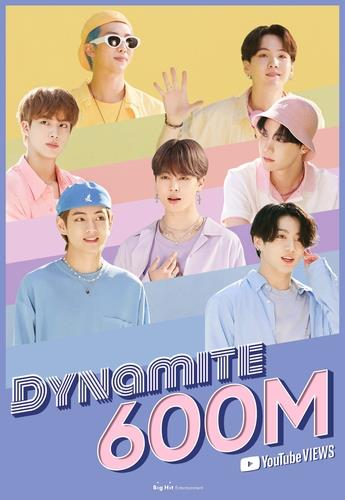 "This image, provided by Big Hit Entertainment on Nov. 17, 2020, shows that BTS' ""Dynamite"" music video has surpassed 600 million views on YouTube. (PHOTO NOT FOR SALE) (Yonhap)"