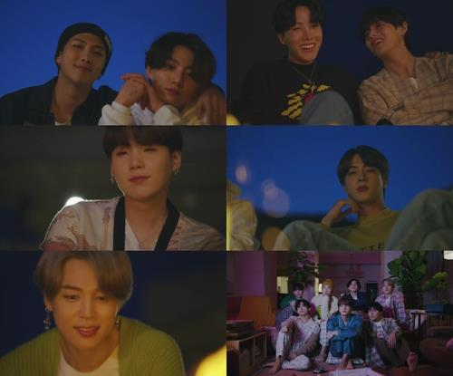 """This composite image provided by Big Hit Entertainment shows members of K-pop group BTS in promotional materials for the band's new album """"BE."""" (Yonhap)"""